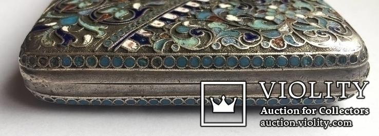 Портсигар серебряный, 84 пробы, многоцветные Эмали., фото №6