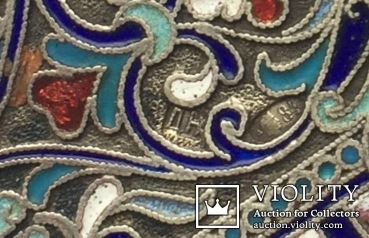 Портсигар серебряный, 84 пробы, многоцветные Эмали., фото №9