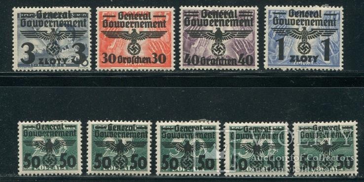 1940 Рейх Генералгубернаторство орлы надпечатки полная серия, фото №4
