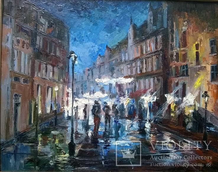 Ночной Гданьск. Дождь.