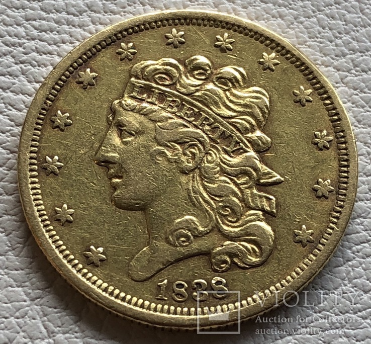 5 $ 1838 год США золото 8,33 грамм 900'