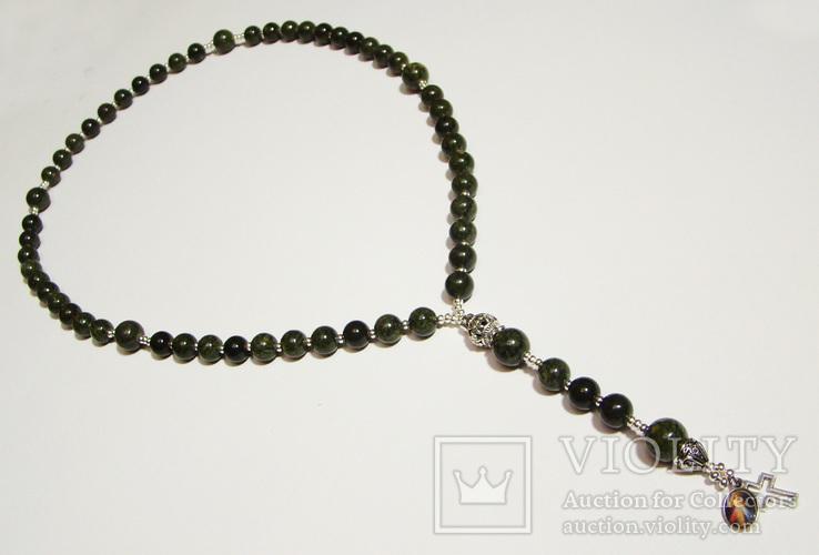 Четки католические с иконой Розарий 59 бусин Цельный камень змеевик, фото №2