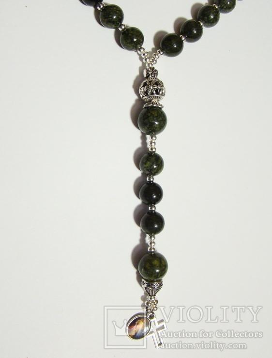 Четки католические с иконой Розарий 59 бусин Цельный камень змеевик, фото №4