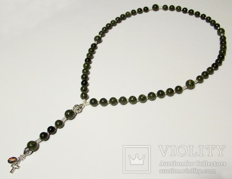 Четки католические с иконой Розарий 59 бусин Цельный камень змеевик, фото №8