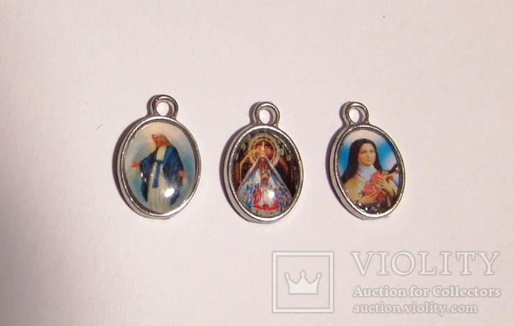 Четки католические с иконой Розарий 59 бусин Цельный камень змеевик, фото №10