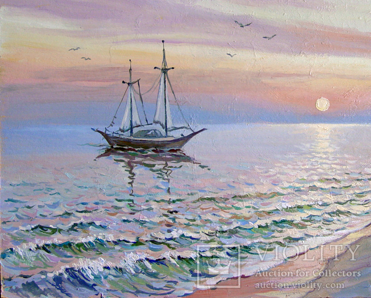 """""""Ранок на Чорному морі"""". Ірена Алісова, картон, олія, 35 х 50 см., фото №5"""