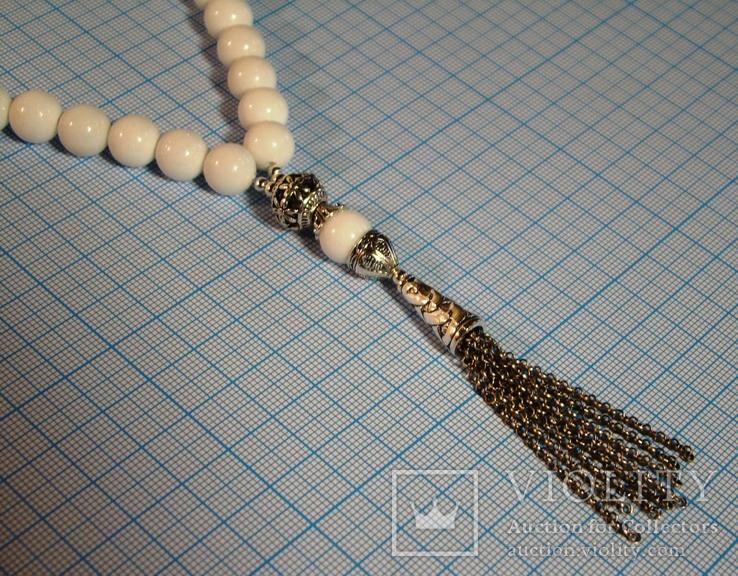 Четки натуральный цельный белый агат 12 мм 33 бусины Ювелирная латунь, фото №5