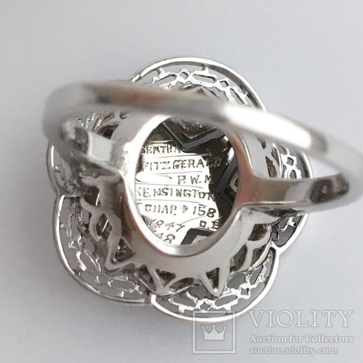 Золотое кольцо с бриллиантами и эмалью, фото №6