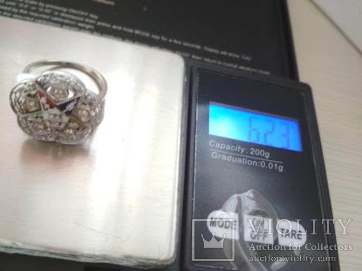 Золотое кольцо с бриллиантами и эмалью, фото №8