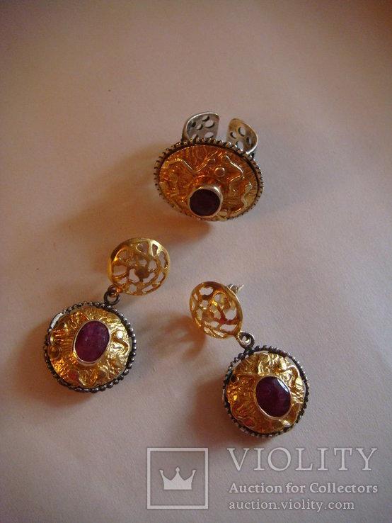 Набор серьги и кольцо, фото №2