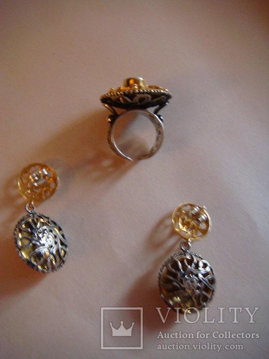 Набор серьги и кольцо, фото №3