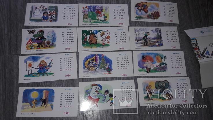 Набор открыток детский календарь  СССР 12 шт 1986г. худ. Литвин, фото №3