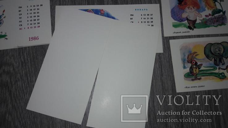 Набор открыток детский календарь  СССР 12 шт 1986г. худ. Литвин, фото №5