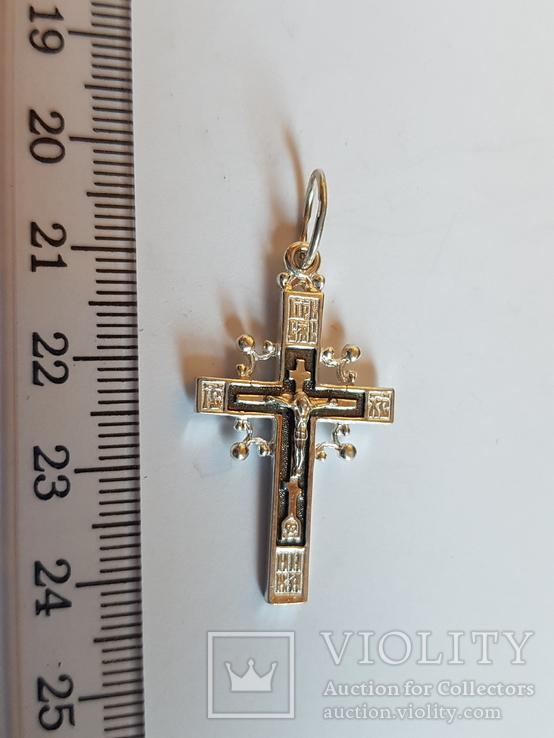 Крест нательный серебро 925. Вес 3.55 г., фото №2