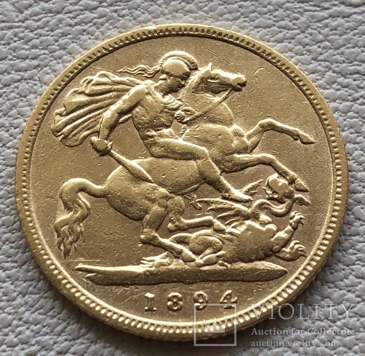 1/2 соверена 1894 год Англия золото 3,93 грамм 917', фото №3