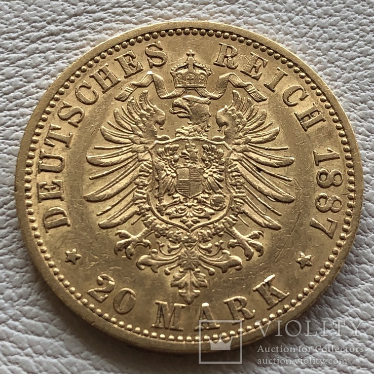 20 марок 1887 год Германия Пруссия золото 7,96 грамм 900', фото №2