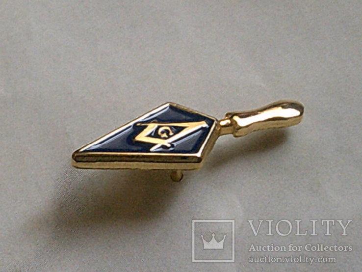 Масонское лига - золотой мастерок знак заколка, фото №7