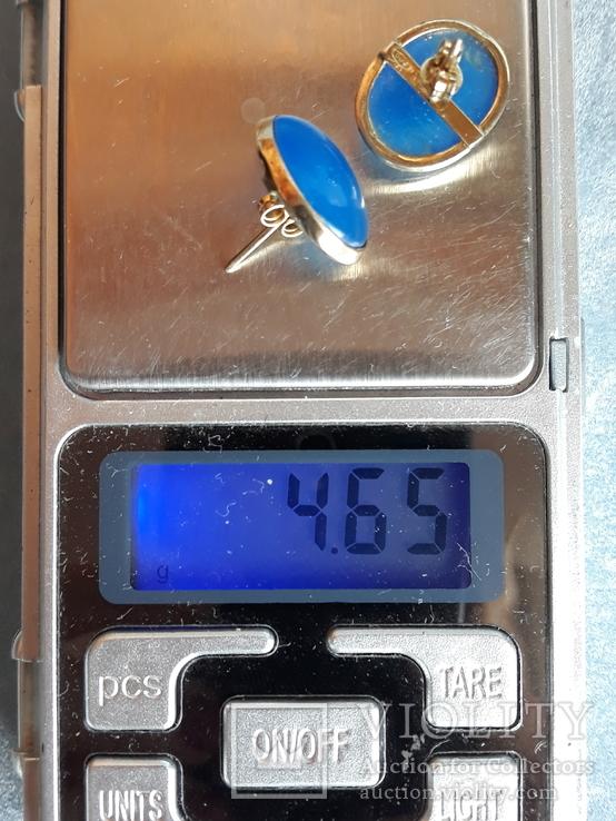 Серебряные серьги в позолоте,Италия, фото №11