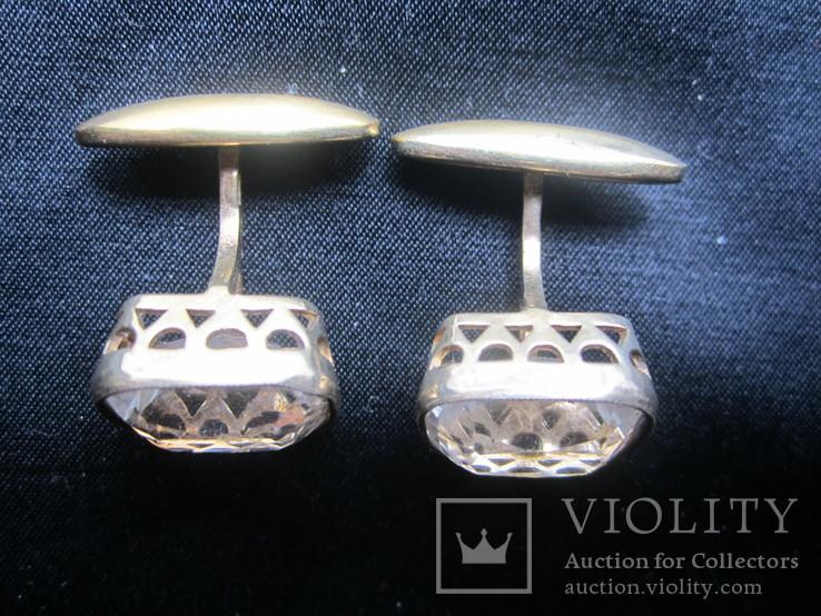 Запонки Серебро 875 звезда Позолота, фото №4