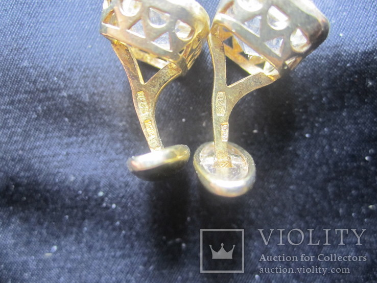Запонки Серебро 875 звезда Позолота, фото №6