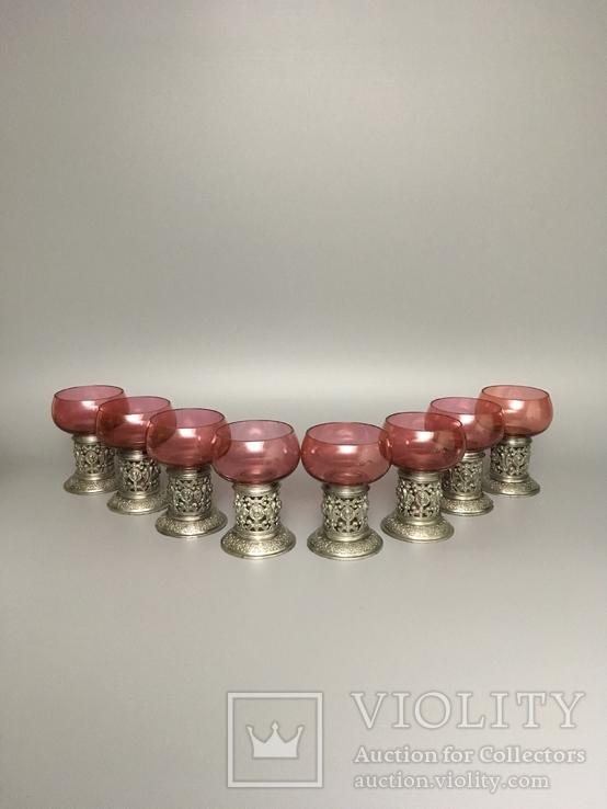 Столовый сервиз графин рюмки стаканы фужеры металл стекло, фото №8