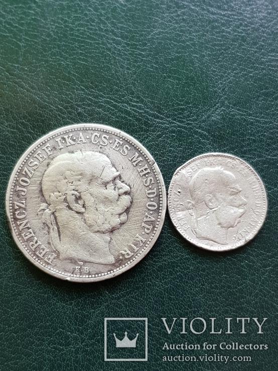 5 крон 1909 и 1 крона 1894, фото №2