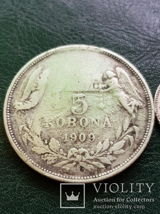 5 крон 1909 и 1 крона 1894, фото №3