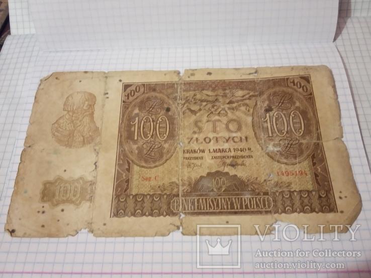 100 злотых 1940 г. Польша      (№2), фото №2