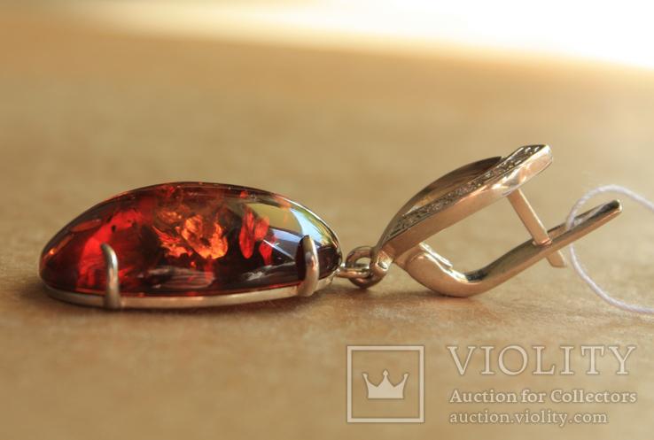Серебряные серьги с янтарем и золотом, фото №8