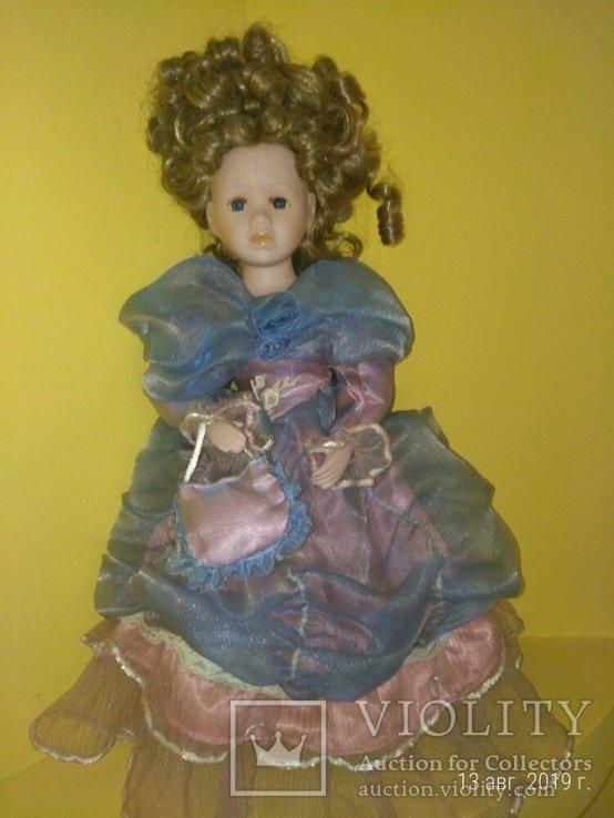 Кукла фарфор Леди с сумочкой 42см, фото №6