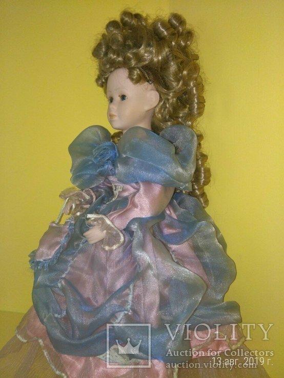Кукла фарфор Леди с сумочкой 42см, фото №8