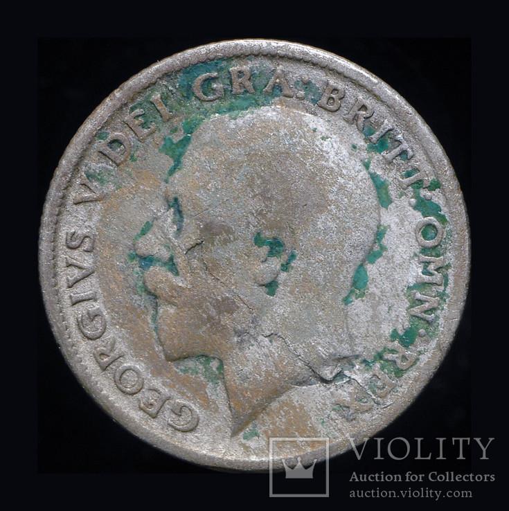 Великобритания 6 пенсов 1921 серебро, фото №2
