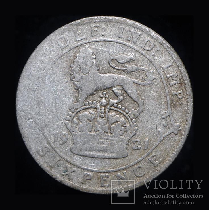 Великобритания 6 пенсов 1921 серебро, фото №3