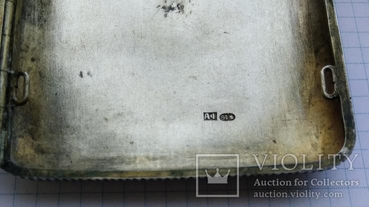 Портсигар серебро 84пр. модерн именник А.Ф, фото №6