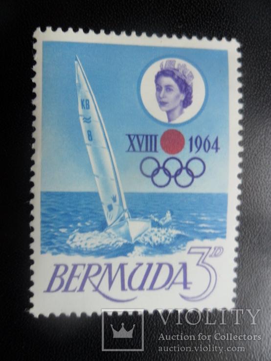 Спорт. Бермудские острова. 1964 г. Парусный спорт. марка MLH, фото №2