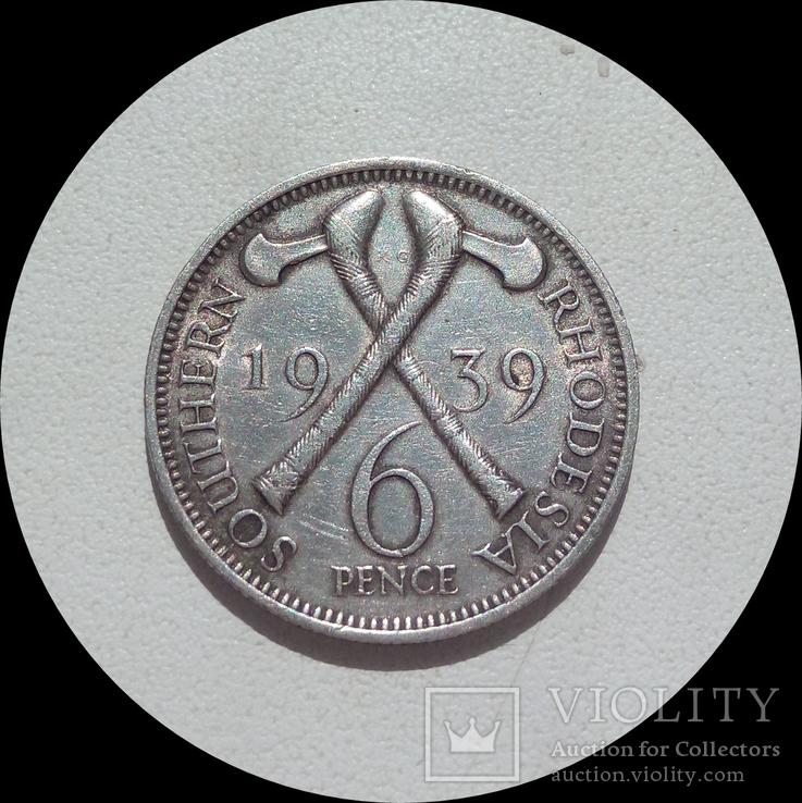 Южная Родезия 6 пенсов 1939 г., фото №2
