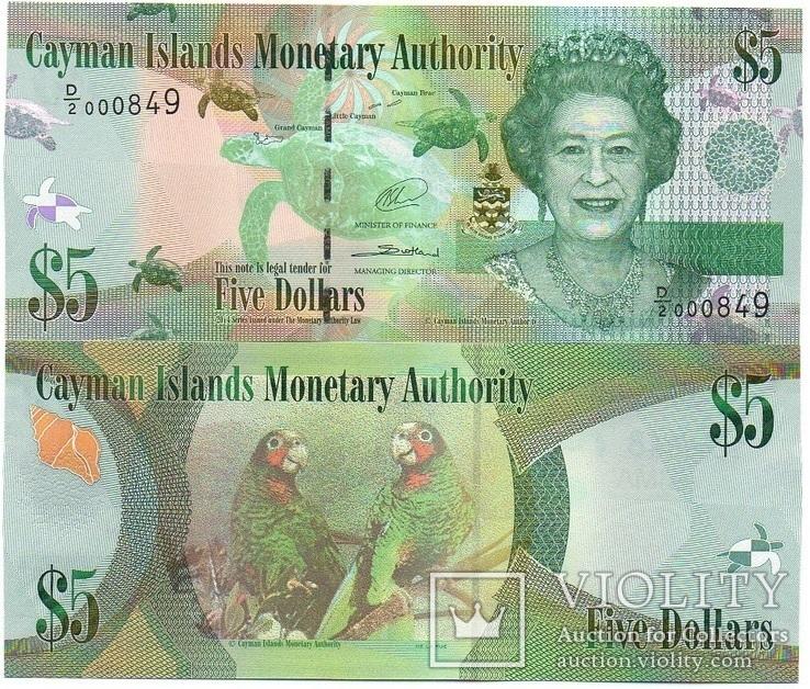 Cayman Is Кайманы Каймановы о - 5 Dollars 2014 / 2017 серия D/2 UNC JavirNV