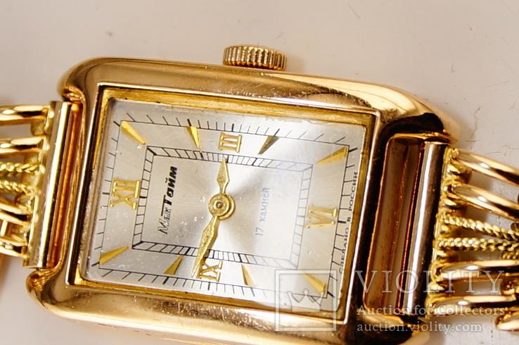 Золотые часы с браслетом 585 пробы, фото №7