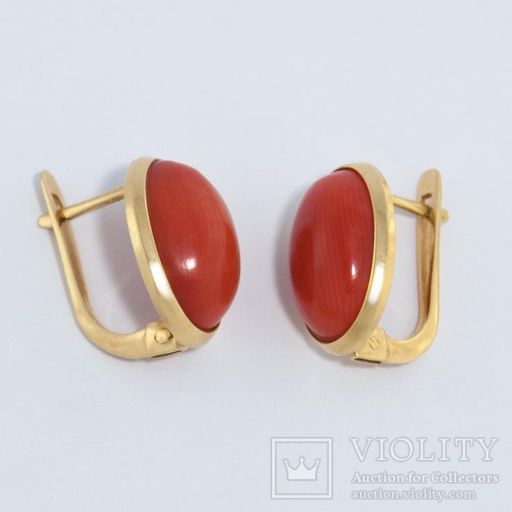 Золотые серьги с натуральным кораллом, фото №4