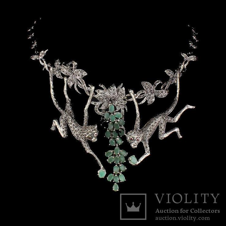 Серебряное ожерелье с натуральными Изумрудами., фото №2