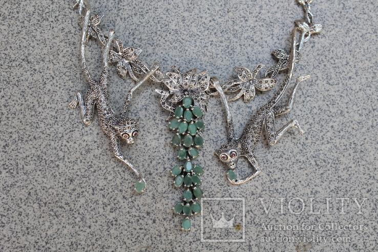 Серебряное ожерелье с натуральными Изумрудами., фото №7