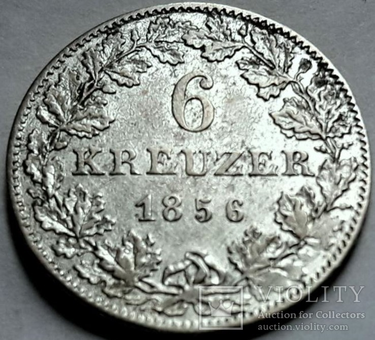 Франкфурт 6 крейцеров 1856 год Серебро.