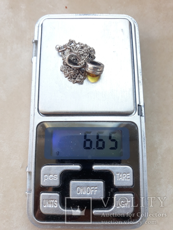 Серебрчный кулон с янтарем, на цепочке, фото №4