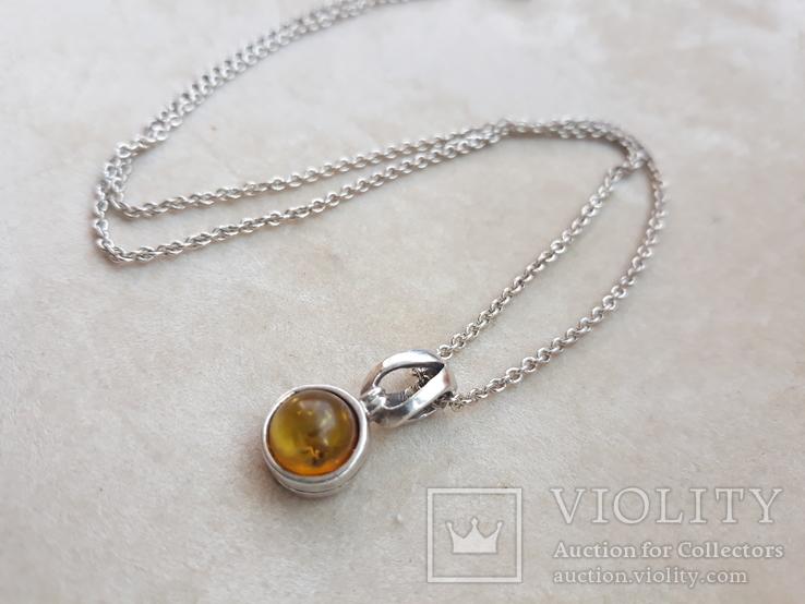 Серебрчный кулон с янтарем, на цепочке, фото №6