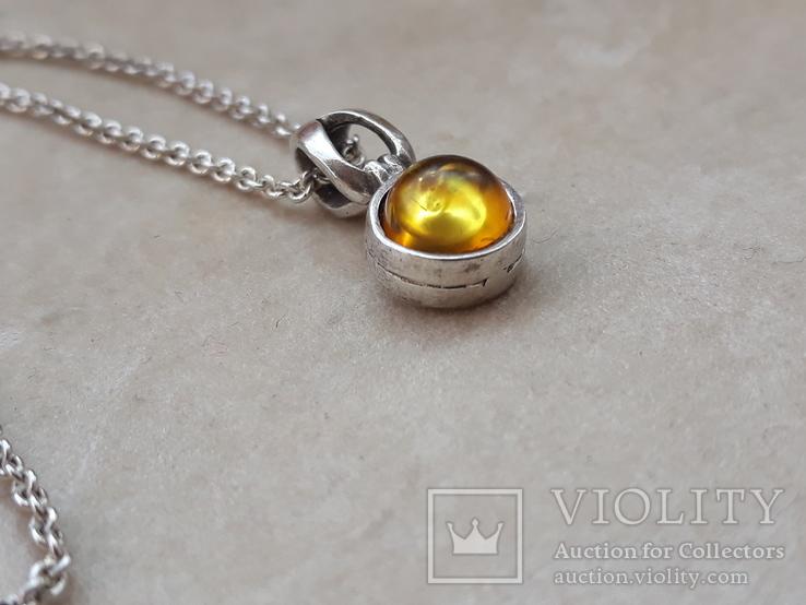 Серебрчный кулон с янтарем, на цепочке, фото №7
