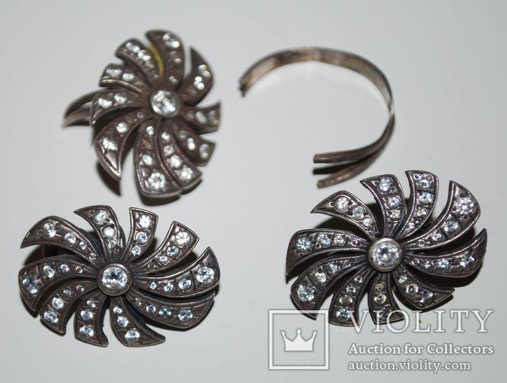 Гарнитур серьги перстень(на ремонт), серебро 925 пр. Украина, фианиты - 18 гр., фото №2