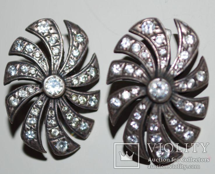 Гарнитур серьги перстень(на ремонт), серебро 925 пр. Украина, фианиты - 18 гр., фото №5