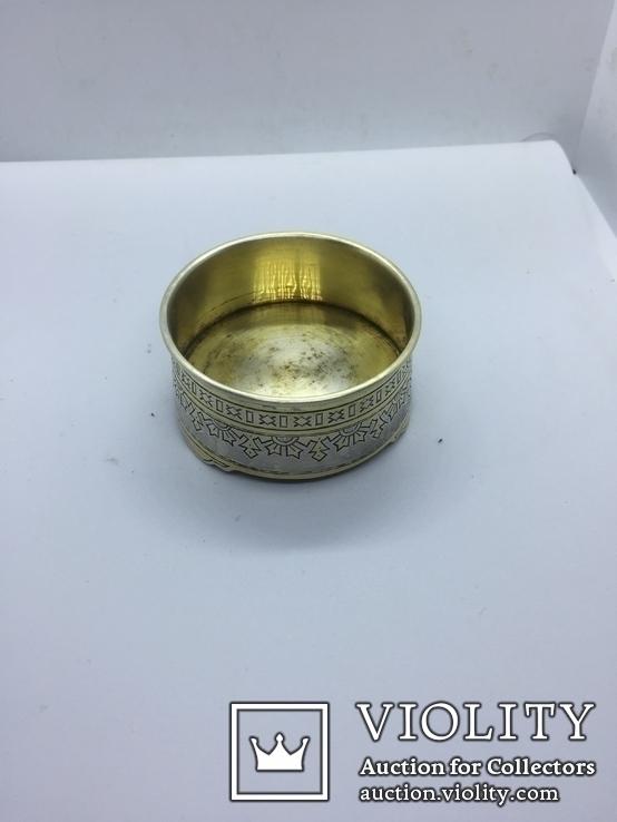 Солонка серебро  позолота 84 проба штихельным рисунок
