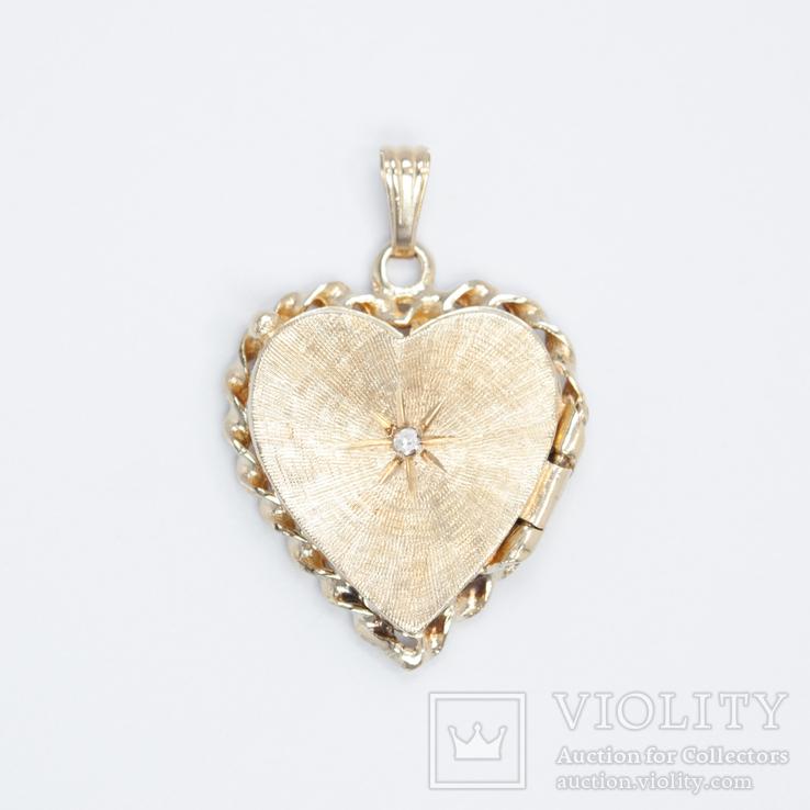 Золотой кулон-локет с бриллиантом, фото №2