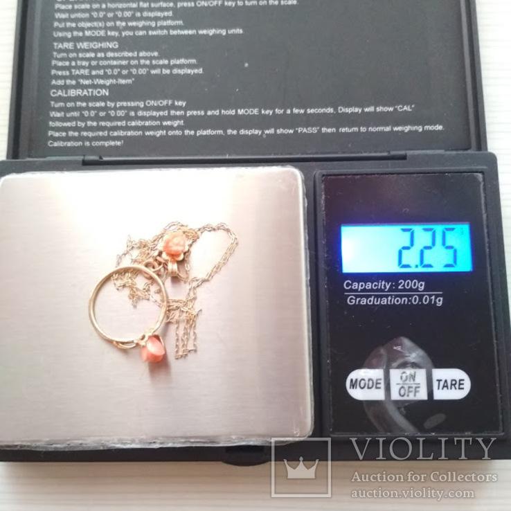 Золотой кулон и кольцо с натуральным розовым кораллом, фото №5